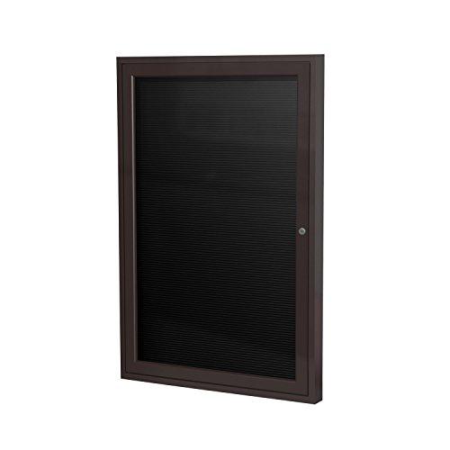 Ghent 36 x 24 1 Door Enclosed Flannel Letter Board Black Letter Panel Bronze Aluminum Frame PB13624B-BK