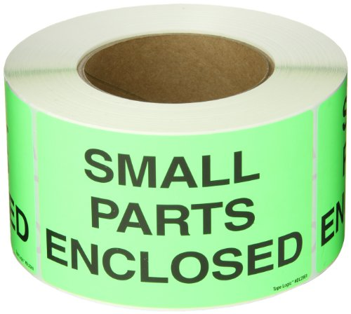 Tape Logic DL2561 Special Handling Label Legend Small Parts Enclosed 5 Length x 3 Width Fluorescent Green Roll of 500