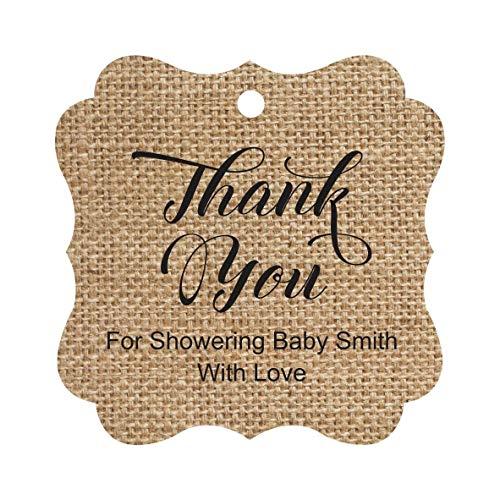 Darling Souvenir Baby Shower Thank you Favor Tags Custom Hang Gift Tags-Burlap-50 Tags