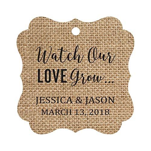 Darling Souvenir Watch Our Love Grow Custom Paper Tags Wedding Bonbonniere Favor Gift Hang Tags-Burlap-100 Tags