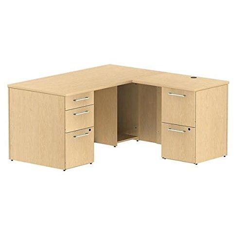 Bush 60 L Shaped Office Desk 60W X 60D X 29H Desk Is 30 Deep Return 22 Deep Two Box Drawers Three File Drawers - Natural Maple