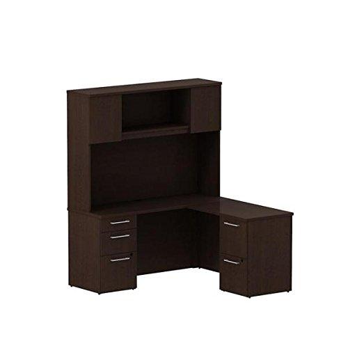 Bush 60 Small L Shaped Desk WHutch 596W X 572D X 723H Front Desk 22D L Desk Features Two Box Drawers Three File Drawers - Mocha Cherry