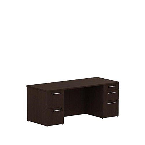 Bush 72 Double Pedestal Desk 711W X 296D X 291H Features Two Box Drawers Three File Drawer - Mocha Cherry