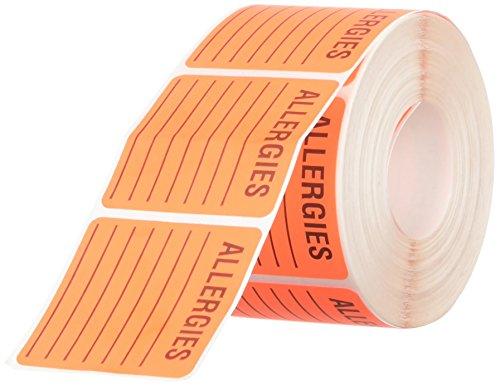 Tabbies 40560 Medical Labels for Allergies 2 x 2 Orange 500 per Roll