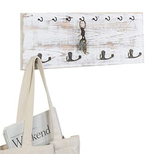 MyGift Vintage Whitewashed Wood Wall Mounted Coat Hook and Key Holder Rack