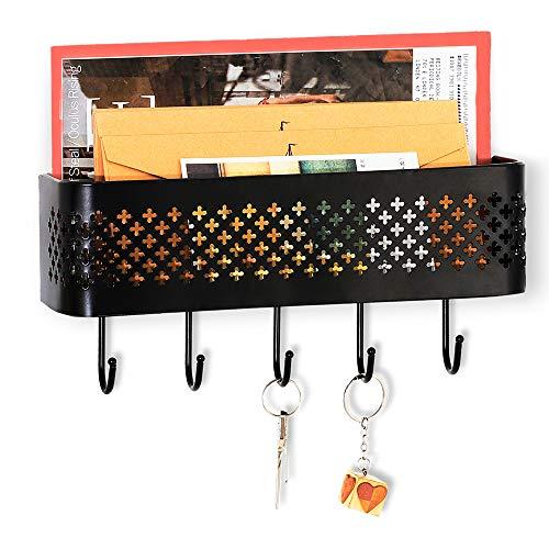 Nandae Key Holder Mail Organizer Wall Mounted Metal Entryway Storage Basket Letter Sorter Key Rack with 5 Hooks for Home Office Mudroom Kitchen Black