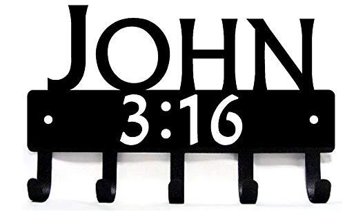 The Metal Peddler John 316 Bible Reference Christian Key RackKey Holder- Large 9 inch Wide