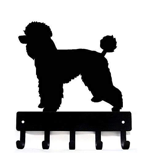 The Metal Peddler Poodle Natural Cut Key Rack Dog Leash Hanger - Large 9 inch Wide
