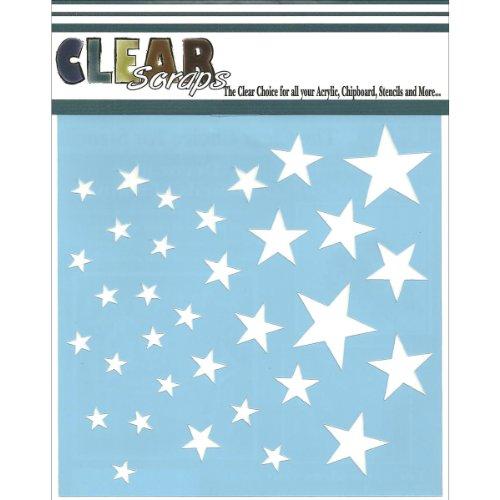 Clear Scraps CSSM6-STARS Translucent Plastic Film Stencil Stars 6-Inch x 6-Inch