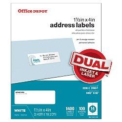 Office Depot White InkjetLaser Address Labels 1 13in x 4in Pack Of 1400 505-O004-0019