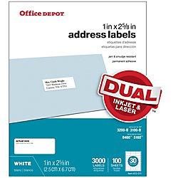 Office Depot White InkjetLaser Address Labels 1in x 2 58in Box Of 3000 505-O004-0004