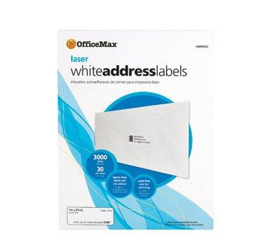 OfficeMax White Laser Address Labels 2 x 4 1000pk