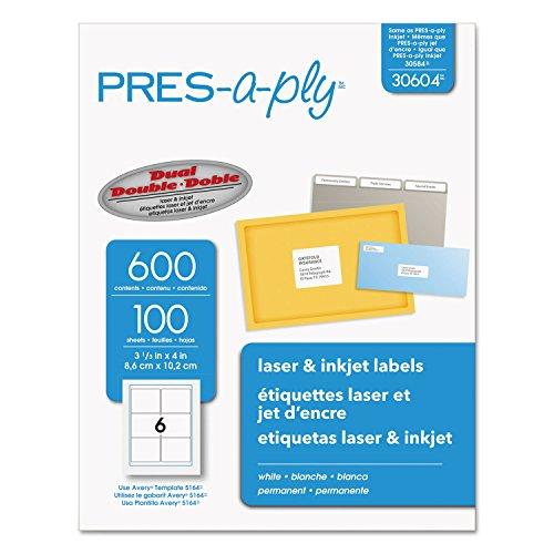 Pres-A-Ply Laser Address Labels 3-13 x 4 White 600Box