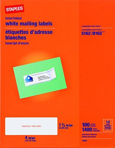 Staples White InkjetLaser Address Labels 1-13 X 4 1400Box