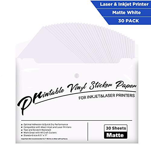 Printable Vinyl for Inkjet Printer - 30 Pack Printable Vinyl Sticker Paper Matte White - Standard Size 85x11
