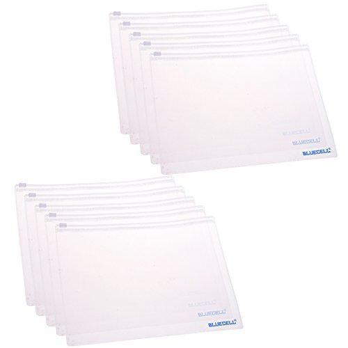 BCP 10pcs Clear Color Plastic A5 Paper Document File Bill Bag Pencil Pouch A5