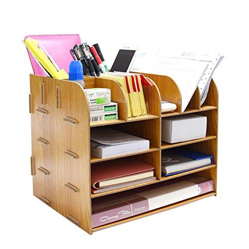 File Storage Box Holder Wood Files Supplies Office Supply Organizer DIY Wooden Detachable Desktop Multilayer File Frame A4A5 Paper Magazine Document Desk Shelf