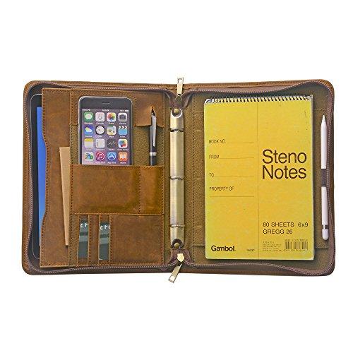 Zipper Organizer Binder Portfolio Tablet Folio with 3-Ring Binder for Jr Legal  A5 Paper
