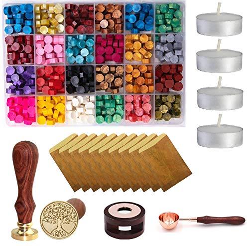 Wax Seal Set 600 Pcs Octagon Sealing Wax Beads with 1 Pcs Melting Furnace 1 Pcs Tree of Life Stamp 10 Pcs High-Grade Vintage Envelope 4 Pcs Tea Candles and 1Pcs Wooden Handle Wax Melting Spoon
