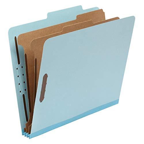 AmazonBasics Classification Folder- 100 Recycled 2 Dividers 2 Embedded Letter Light Blue 10 per Box