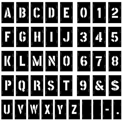 Attisstore Plastic Interlocking Stencils Letters and Numbers 138 Piece Set 3 inch Black