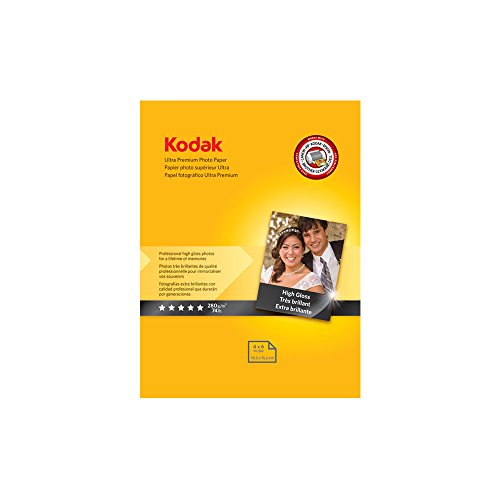 "Kodak Ultra Premium Photo Paper for inkjet printers Gloss Finish 107 mil thickness 20 sheets 4"" x 6"" 8777757"