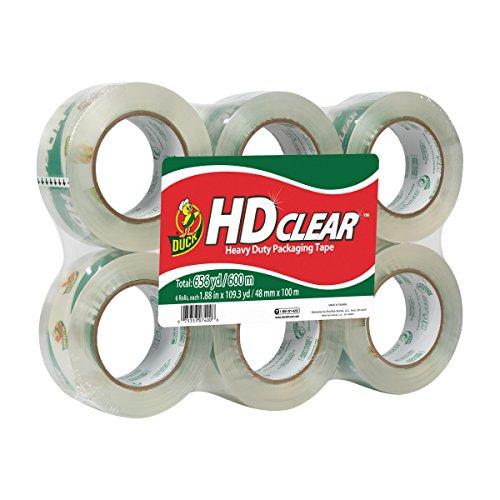 Duck HD Clear Heavy Duty Packaging Tape Refill 6 Rolls 188 Inch x 1093 Yard 299016