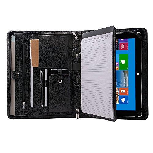 Genuine Leather Portfolio Organizer Padfolio for Surface Pro 7  Pro 6  Pro 5  Pro 4 A4 Notepad Black