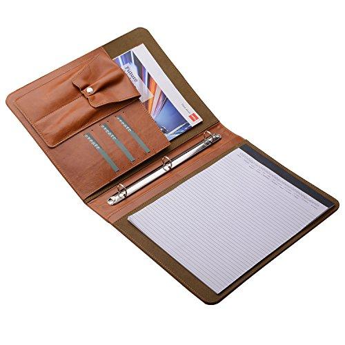 Leather Padfolio with 3 Ring Binder Organizer Binder Folder Portfolio for A4 Notepad Notebook Documents