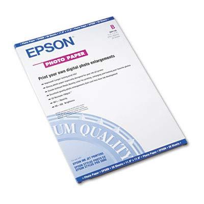 Epson Photo Paper - LedgerTabloid - 11quot x 17quot - 52 lb - Glossy - 92 Brightness - 20  Pack - White