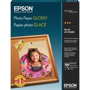 Epson Photo Paper - Letter - 850 x 11 - Soft Gloss - 89 Brightness - 100  Pack - White - S041271