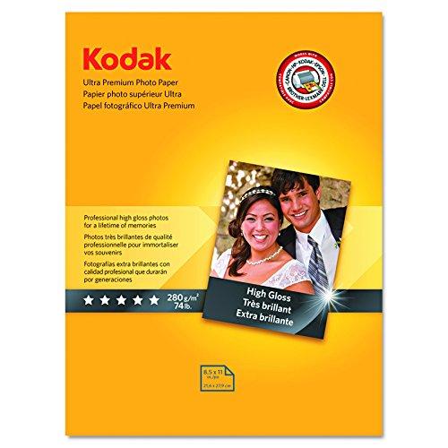 Kodak Ultra Premium Photo Paper for inkjet printers Gloss Finish 107 mil thickness 25 sheets 85 x 11 8366353