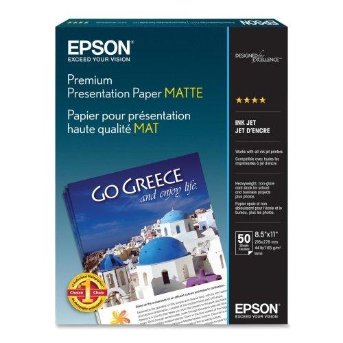Epson Inkjet Paper - Letter - 850 x 11 - 44 lb - Matte - 97 Brightness - 50  Pack - White