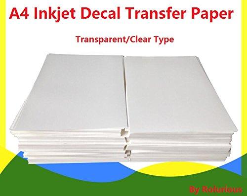 20 Sheets DIY A4 Inkjet Water Slide Decal Transfer Paper Sheets Transparent Clear for Inkjet Printer