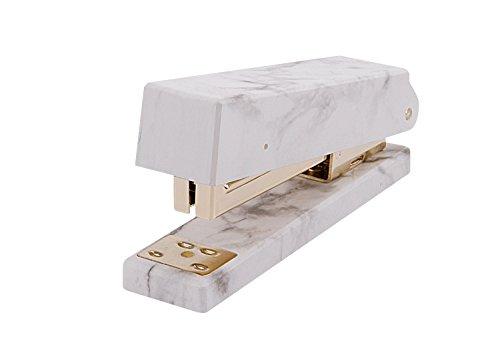 Marble Print Stapler 50 Sheet Capacity Heavy Duty Home Office Desk Stapler Jam-Free Manual Stapler Office Supplies with Anti-Skid Pad Gold