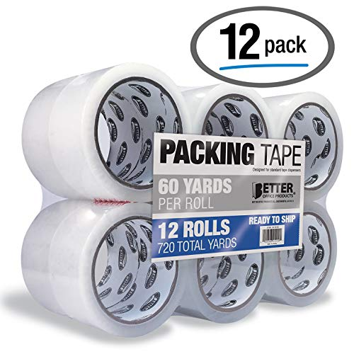 12 Pack Clear Packing Tape Refill Rolls Heavy Duty by Better Office Products 188 Inch x 60 Yards Per Roll 720 Total Yards 12 Rolls