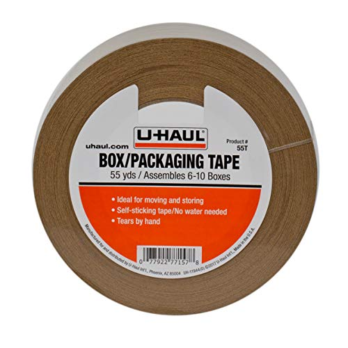U-Haul Moving Box Paper Tape Ideal for Moving Packing Storage Boxes - 55 Yard Roll - Easily Tears by Hand