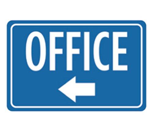 Aluminum Metal Office Print Blue White Notice Left Arrow Business Sign