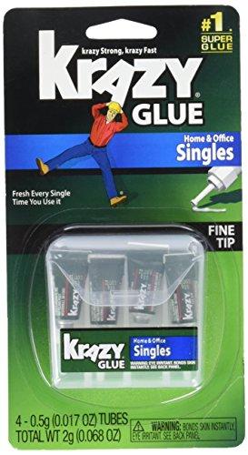 Krazy Glue KG82048SN Instant Crazy Glue Single Use 4 Tubes 6 Pack