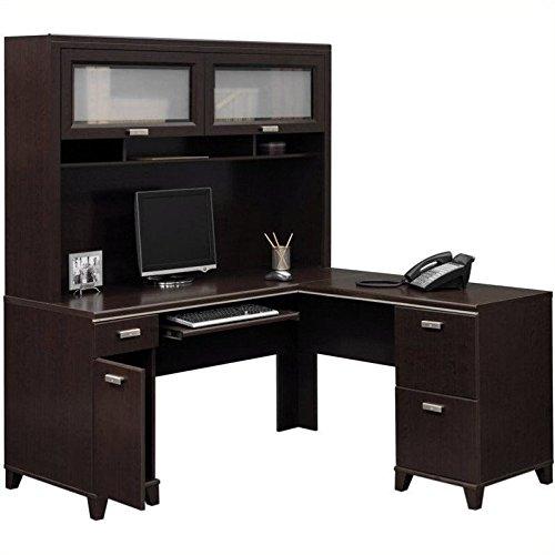 Bush Furniture Tuxedo L-Shape Wood Computer Desk Set with Hutch in Mocha Cherry