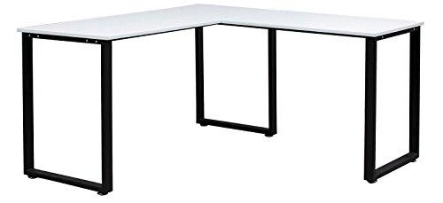 Merax L-Shaped Office Workstation Computer Desk Corner Desk Home Office Wood Laptop Table Study Desk (White)