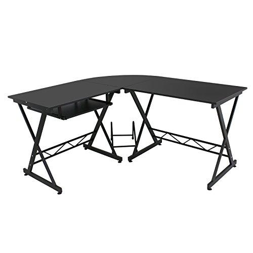 Super Deal Wood L-Shape Corner Computer Desk PC Laptop Table Workstation Home Office Black Black