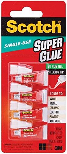 Scotch Super Glue Gel 4 Single Use Tubes 5 Pack