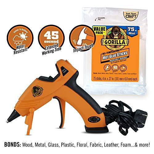 Gorilla Dual Temp Mini Hot Glue Gun Kit with 75 Hot Glue Sticks Pack of 1