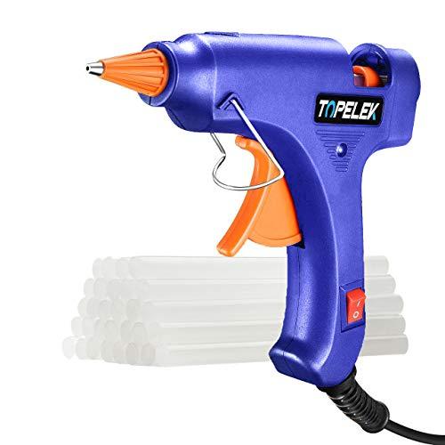 TOPELEK Mini Hot Glue Gun with 30pcs Sticks Heat Up Quickly 20W Mini Heating Hot Melt Glue Gun ON-Off Switch Easy for DIY Arts Hobby Craft Home Repairs FabricWood Glass Card Plastic