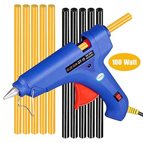 Winsall Hot Glue Gun 100W Hot Melt Glue Gun with 10pcs Glue Sticks High Power Heating Glue Gun for DIY Home Quick Repairs Dent Repair Artistic Creation More