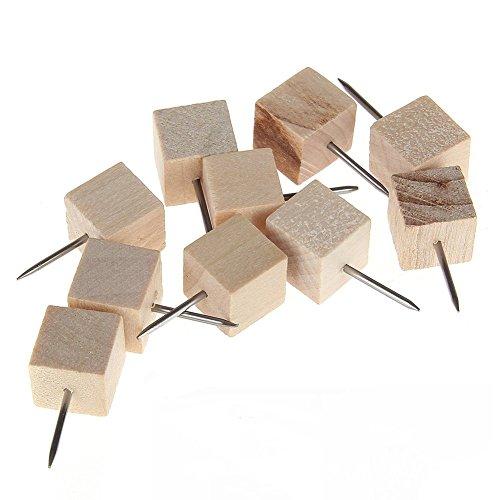 Meeya Wood Head Push Pins Thumb Tacks Decorative Home Office Novelty Style Square 10pcs