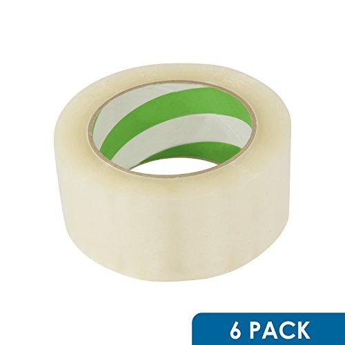 6 Pack Rok Hardware 2 Mil 2 x 110 Yards Long Big Clear Sealing Packing Shipping Box Carton Tape Roll