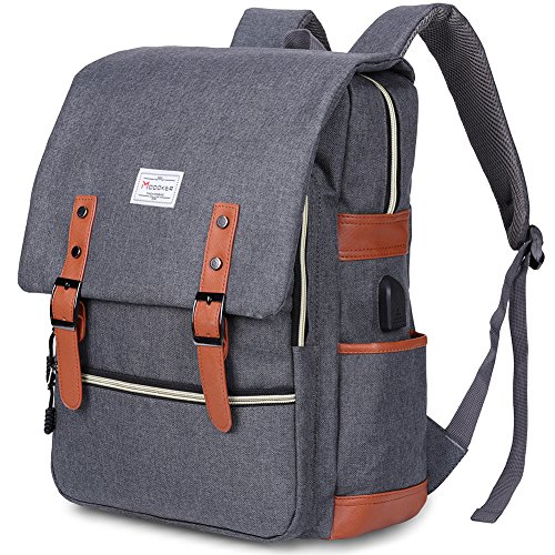 Modoker Vintage Laptop Backpack for Women MenSchool College Backpack with USB Charging Port Fashion Backpack Fits 15 inch Notebook Grey
