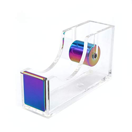 Rainbow Adhesive Tape Dispenser Clear Acrylic Body Desktop Tape Holder 1 Colorful Metal Core for Your Desk and Office Supplies